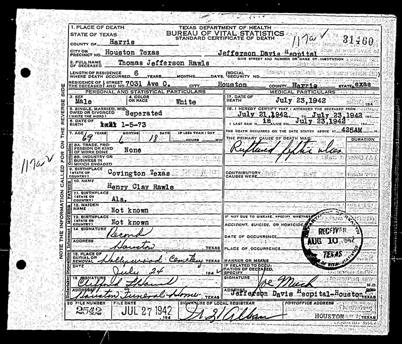 Death records & obituaries, Rawls and Faries (TX)   Thaxton