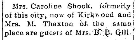 Shook - Thaxton - Gill visit 1905